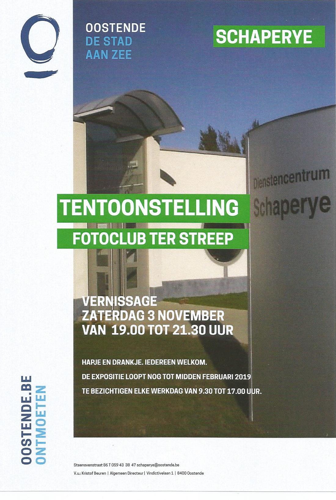 Flyer fototentoonstelling fotoclub Ter Streep in De Schapereye